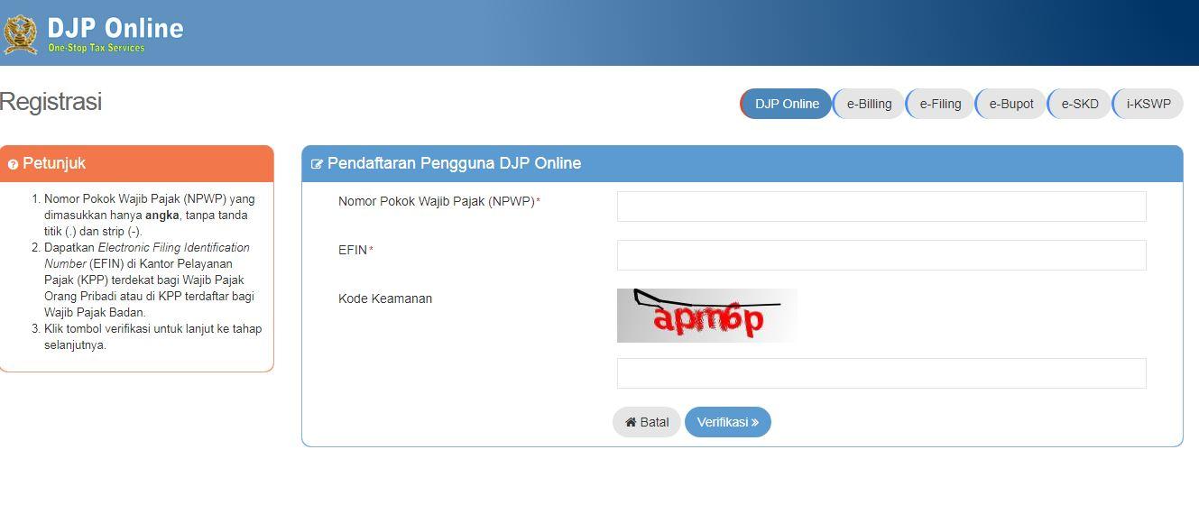 daftar djp online